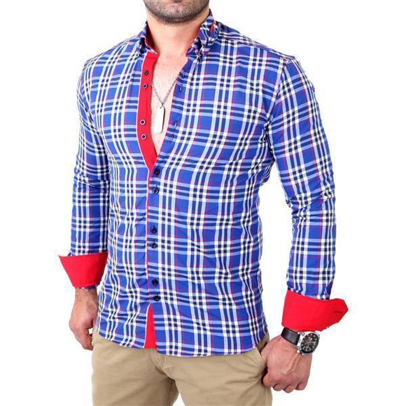 Reslad Herren Hemd Tartan Karo Design Langarmhemd RS-7211 Royalblau S