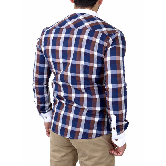 Reslad Herren Hemd Karo Muster Button-Down-Kragen Langarmhemd RS-7213 Braun S
