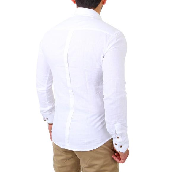 Reslad Herren Hemd Patched Leinen Look Langarmhemd RS-7214 Weiß S