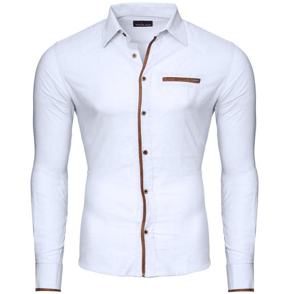 Reslad Herren Hemd Patched Leinen Look Langarmhemd RS-7214 Weiß L