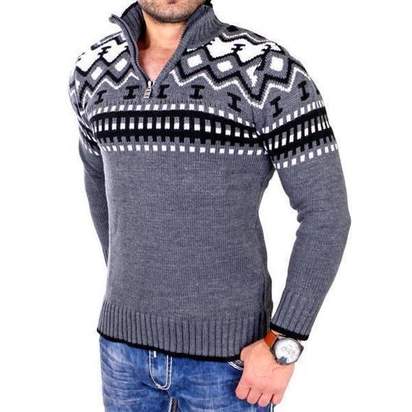 Reslad Herren Strickpullover Crewneck Zipper Norweger Pullover RS-3110 Anthrazit 2XL