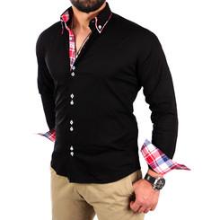 Reslad Herren Hemd Button-Down Slim Fit Kontrast Langarmhemd RS-7015 Schwarz M