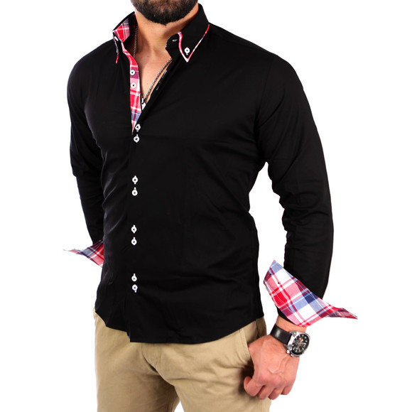 Reslad Herren Hemd Button-Down Slim Fit Kontrast Langarmhemd RS-7015 Schwarz L