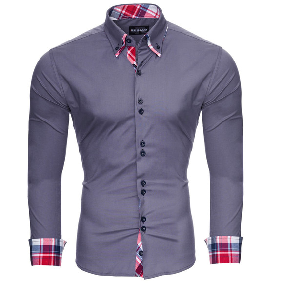 Reslad Herren Hemd Button-Down Slim Fit Kontrast Langarmhemd RS-7015 Anthrazit L