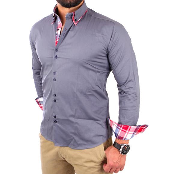 Reslad Herren Hemd Button-Down Slim Fit Kontrast Langarmhemd RS-7015 Anthrazit 2XL