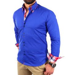 Reslad Herren Hemd Button-Down Slim Fit Kontrast Langarmhemd RS-7015 Blau S