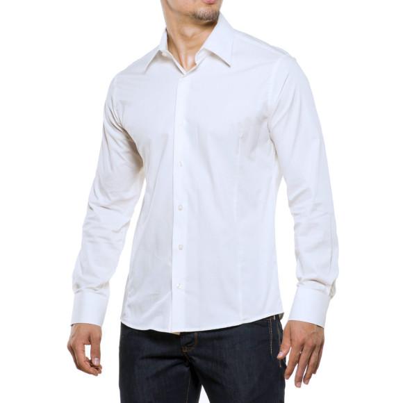 Reslad Herren Hemd Kentkragen Unicolor Langarmhemd RS-7002 Weiß 2XL
