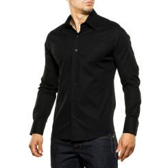 Reslad Herren Hemd Kentkragen Unicolor Langarmhemd RS-7002 Schwarz S