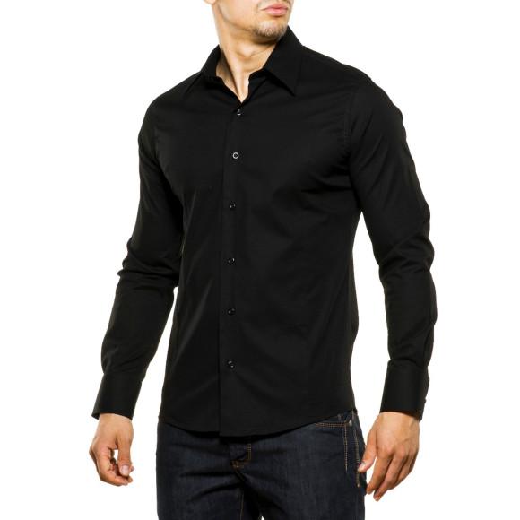 Reslad Herren Hemd Kentkragen Unicolor Langarmhemd RS-7002 Schwarz M