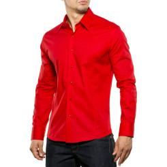 Reslad Herren Hemd Kentkragen Unicolor Langarmhemd RS-7002 Rot L