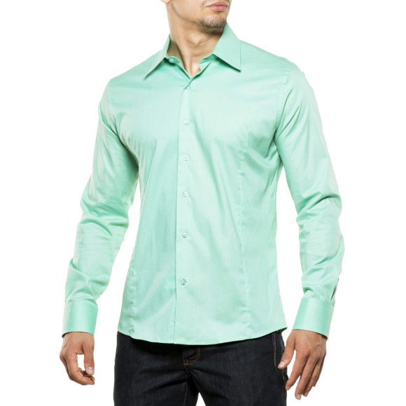 Reslad Herren Hemd Kentkragen Unicolor Langarmhemd RS-7002 Mint 2XL
