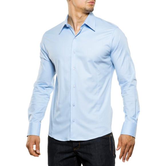 Reslad Herren Hemd Kentkragen Unicolor Langarmhemd RS-7002 Hellblau M