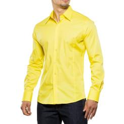 Reslad Herren Hemd Kentkragen Unicolor Langarmhemd RS-7002 Gelb 2XL