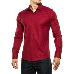 Reslad Herren Hemd Kentkragen Unicolor Langarmhemd RS-7002 Bordeaux XL