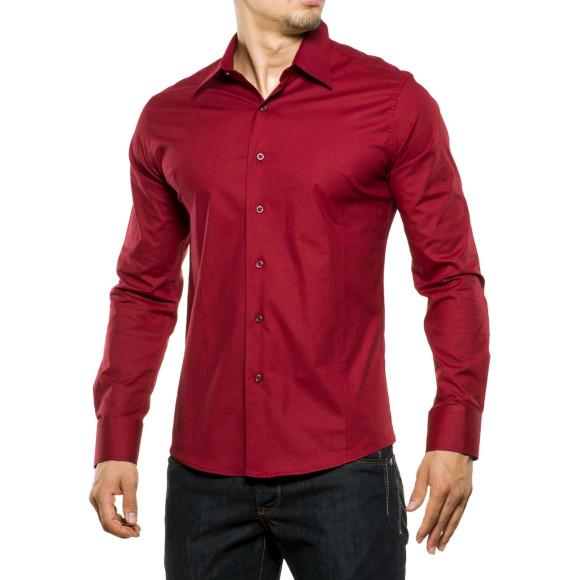Reslad Herren Hemd Kentkragen Unicolor Langarmhemd RS-7002 Bordeaux 2XL