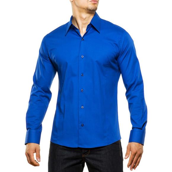 Reslad Herren Hemd Kentkragen Unicolor Langarmhemd RS-7002 Blau L
