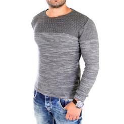 Reslad Strickpullover Herren-Pullover Melange Colorblock Rundhals Strick-Pulli RS-3124 Anthrazit L