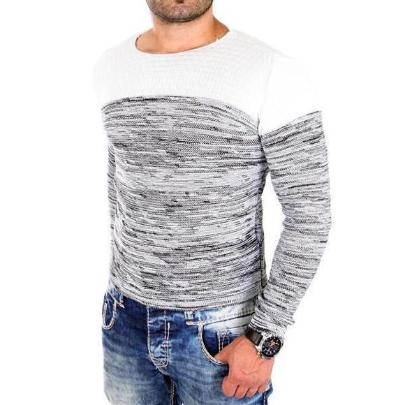 Reslad Strickpullover Herren-Pullover Melange Colorblock Rundhals Strick-Pulli RS-3124 Ecru L