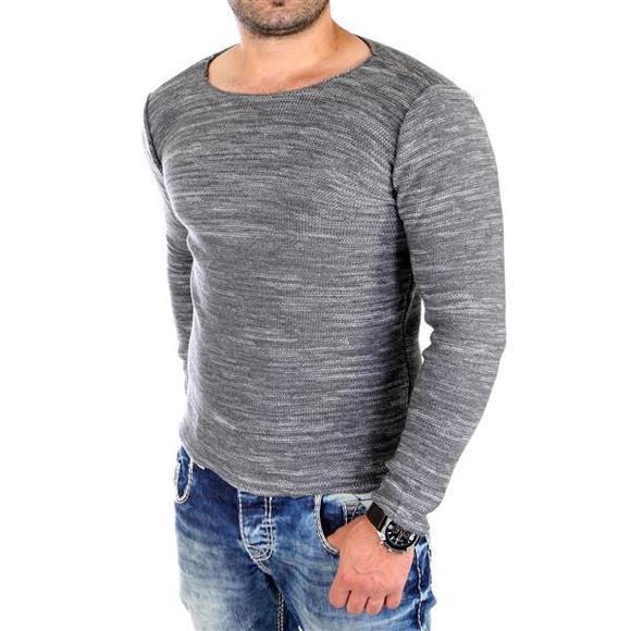 Reslad Strickpullover Herren-Pullover Melange Look Grobstrick-Pulli RS-3125 Anthrazit 2XL