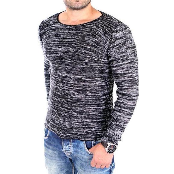 Reslad Strickpullover Herren-Pullover Melange Look Grobstrick-Pulli RS-3125 Schwarz L