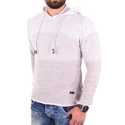 Reslad Strickpullover Herren Colorblock Kapuzen-Pullover Hoodie RS-3108 Stone M