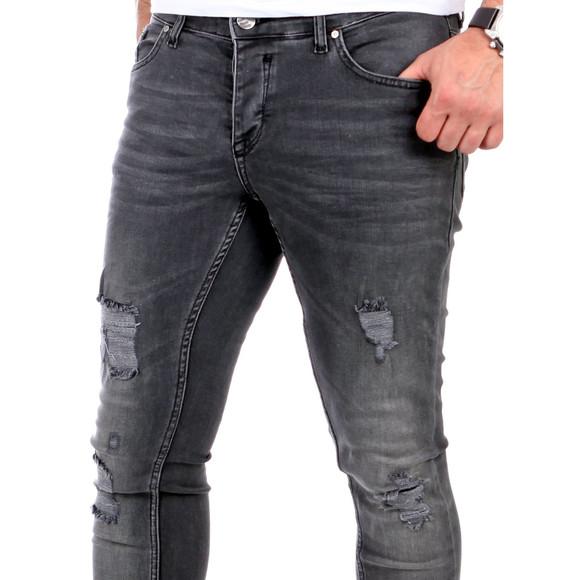 Reslad Jeans Herren Destroyed Look Slim Fit Denim Strech Jeans-Hose RS-2062 Schwarz W31 / L30