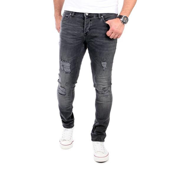 Reslad Jeans Herren Destroyed Look Slim Fit Denim Strech Jeans-Hose RS-2062 Schwarz W34 / L30