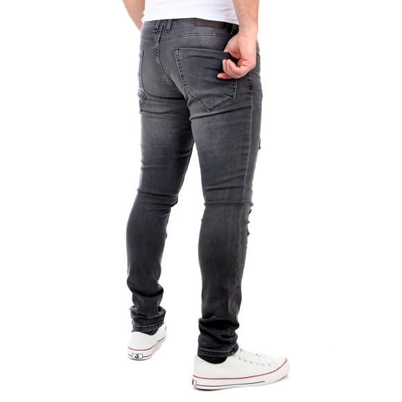 Reslad Jeans Herren Destroyed Look Slim Fit Denim Strech Jeans-Hose RS-2062 Schwarz W29 / L34