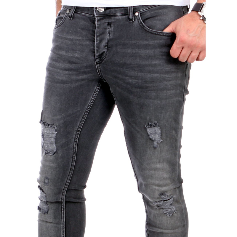 Reslad Jeans Herren Destroyed Look Slim Fit Denim Strech Jeans Hose RS 2062 Schwarz W32 L34