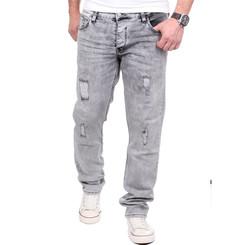 Reslad Jeans Herren Destroyed Look Slim Fit Denim Strech Jeans-Hose RS-2062 Grau W31 / L30