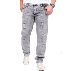 Reslad Jeans Herren Destroyed Look Slim Fit Denim Strech Jeans-Hose RS-2062 Grau W38 / L32