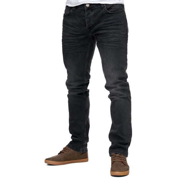 Reslad Jeans-Herren Slim Fit Basic Style Stretch-Denim Jeans-Hose RS-2063 Schwarz W38 / L32