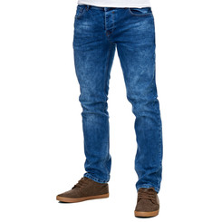 Reslad Jeans-Herren Slim Fit Basic Style Stretch-Denim Jeans-Hose RS-2063 Blau W36 / L34