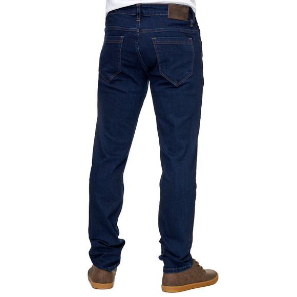 Reslad Jeans-Herren Slim Fit Basic Style Stretch-Denim Jeans-Hose RS-2063 Dunkelblau W36 / L30