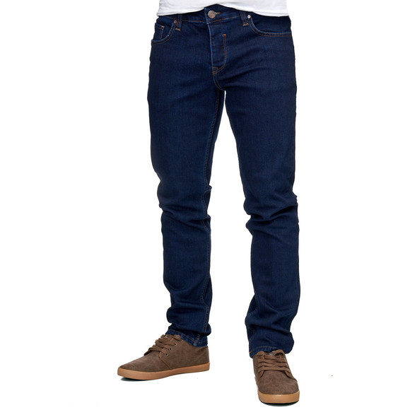 Reslad Jeans-Herren Slim Fit Basic Style Stretch-Denim Jeans-Hose RS-2063 Dunkelblau W38 / L30