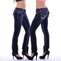 Cipo & Baxx CBW 231 Damen Frauen Jeans Dark Blue Denim dicke Nähte Stretch blau