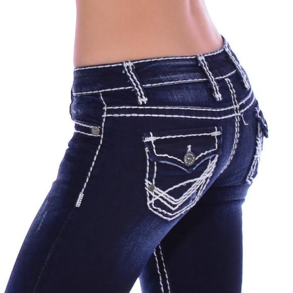 Cipo & Baxx CBW 231 Damen Frauen Jeans Dark Blue Denim dicke Nähte Stretch blau W26 L34