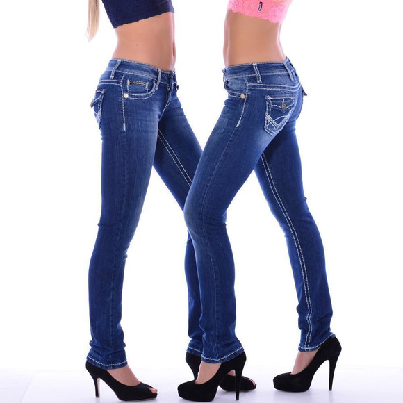 Cipo & Baxx CBW 232 Damen Jeans Blue Denim Frauen Jeanshose weiße Nähte blau W26 L34