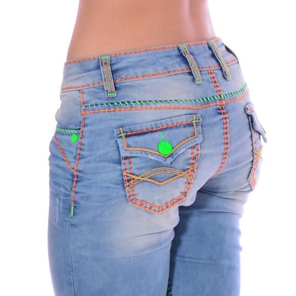 Cipo & Baxx CBW 445 Damen Frauen Jeans Hose Jeanshose blau Neon Kontrast Nähte