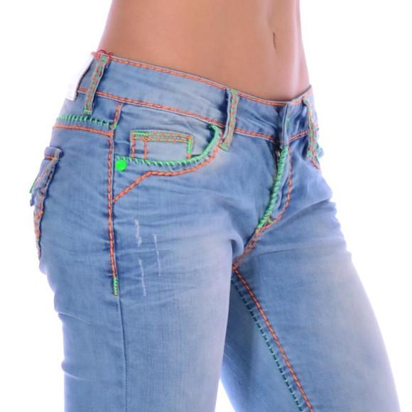 Cipo & Baxx CBW 445 Damen Frauen Jeans Hose Jeanshose blau Neon Kontrast Nähte W25 L32