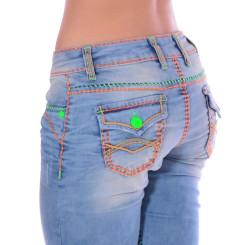 Cipo & Baxx CBW 445 Damen Frauen Jeans Hose Jeanshose blau Neon Kontrast Nähte W30 L32