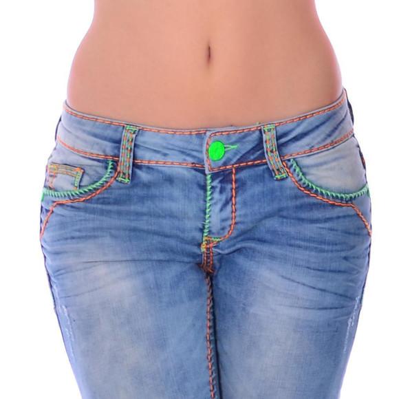 Cipo & Baxx CBW 445 Damen Frauen Jeans Hose Jeanshose blau Neon Kontrast Nähte W31 L32