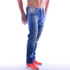 Cipo & Baxx C 595 Herren Jeans Blue Denim used Look Straight Cut Bootcut blau