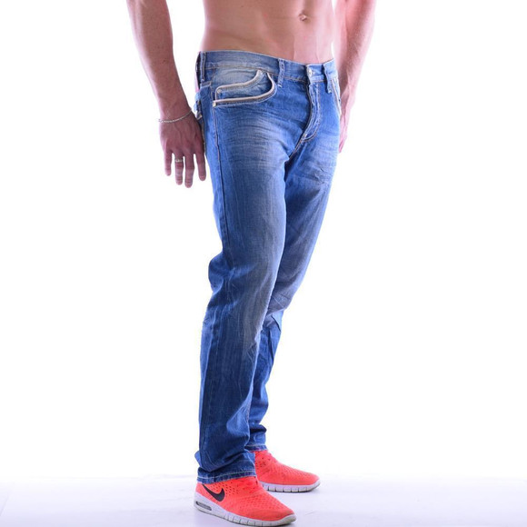 Cipo & Baxx C 595 Herren Jeans Blue Denim used Look Straight Cut Bootcut blau W30 L32