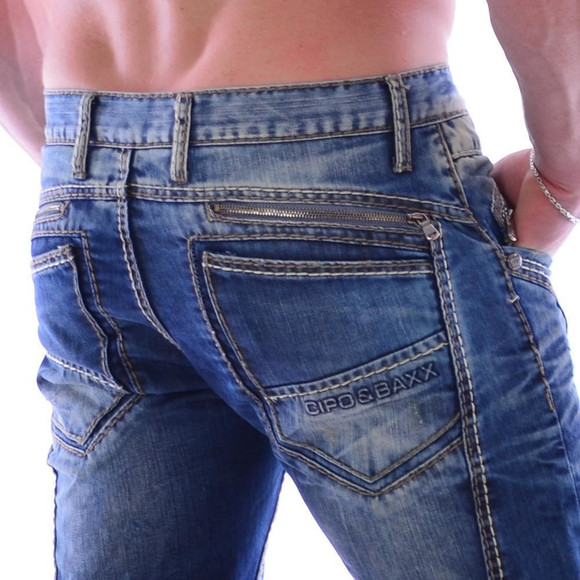 Cipo & Baxx C 894 Herren Denim blue blau Zipper raw Jeans Hose Jeanshose Männer W28 L32