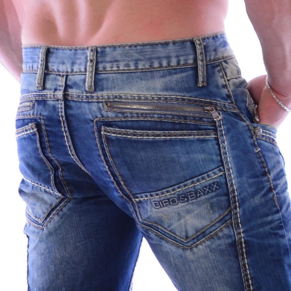 Cipo & Baxx C 894 Herren Denim blue blau Zipper raw Jeans Hose Jeanshose Männer W32 L34