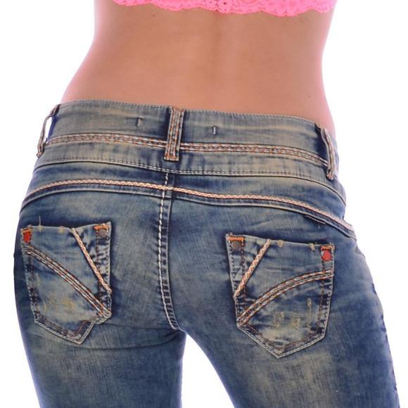 Cipo & Baxx CBW 347 Damen Frauen Jeanshose Jeans Hose blau blue dirty used Look W27 L32