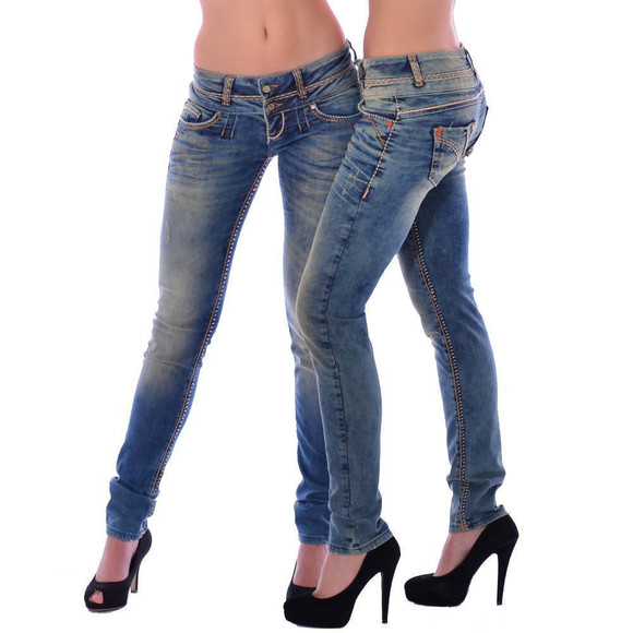 Cipo & Baxx CBW 347 Damen Frauen Jeanshose Jeans Hose blau blue dirty used Look W29 L34
