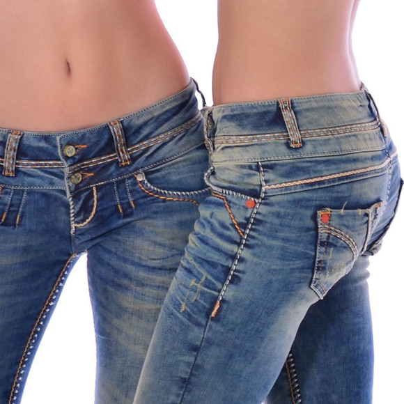 Cipo & Baxx CBW 347 Damen Frauen Jeanshose Jeans Hose blau blue dirty used Look W30 L34