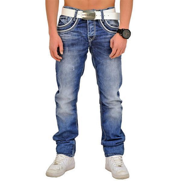 Cipo & Baxx C 1127 Herren Jeans Hose Denim Used Look Regular Jeanshose blau blue